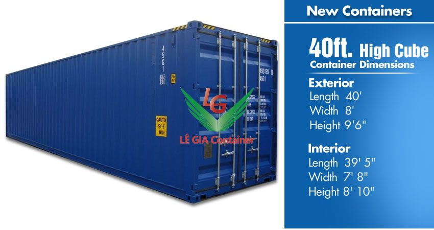 Container khô 40 feet (40ft dry cont.) cao